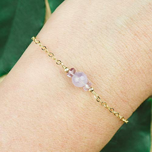 Dainty crystal lavender amethyst bracelet in 14k gold fill - 6