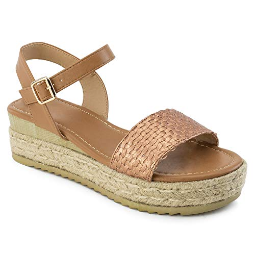 RF ROOM OF FASHION Women's Open Toe Woven Band Flatform Espadrille Footbed Slides Sandals TAN ()