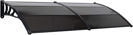 Canditree Outdoor Window Awning Door Canopy Polycarbonate Hollow Sheet UV Rain Snow Protection Black 118.1 x39.4