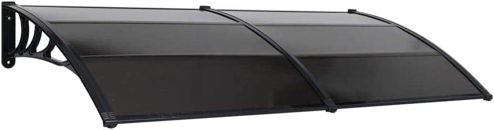 vidaXL Marquesina de Puerta de PC Techado Toldos Persianas Casa Jard/ín Hogar Terraza Patio Parasoles Balc/ón Sombra Sombrilla Exterior 200x100 cm Negro
