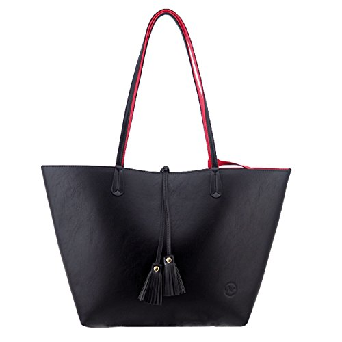 Minch K05 Pu Leather Designer tote purses and Handbags Bags for Women Work on clearance (Black)