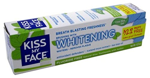 Kiss My Face Toothpaste Whitening Cool Mint 4.5 Ounce (Flouride-Free) (133ml) (3 Pack)