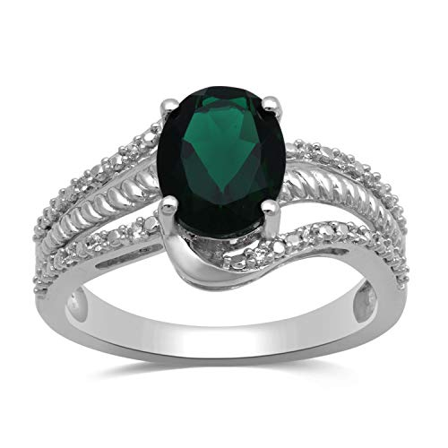 - Jewelili Sterling Silver 9x7mm Oval Created Emerald and Round Created White Sapphire Halo Ring, Size 7