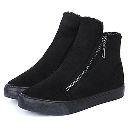 Largeshop Nieve Mujer Invierno de Gamuza Fondo Chica Cremallera Plano Mujer Calor Botas Revestimiento con Zapatos Negro Botines zqT1Uxz