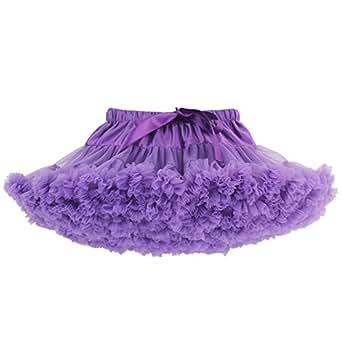 ZYLLGF Tulle Petticoat Layered Ballet Dance Pettiskirt Mini Tutu Skirt Crinoline Underskirt (Purple)