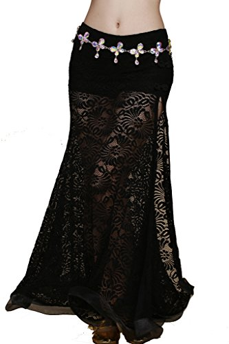 ZLTdream Retro Jacquard Lace Belly Dance Slit Skirt with Comfort Underwear Safety Pants Black