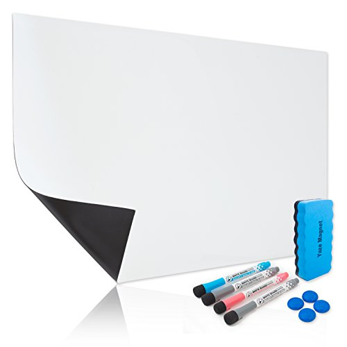 Magnetic Dry Erase White Board Sheet for Kitchen Fridge With New Stain Resistant Technology |17X11"