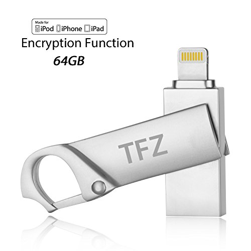 TFZ i Flash Drive USB Memory Expansion Stick 64GB [Apple MFI Certified] High Speed Pen Drive External Storage For Apple iPhone iPad Mac PC and iOS Device With Lightning Connector (Mfi Manual Transmission)