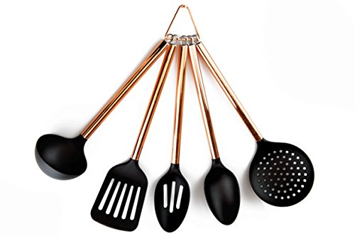 COOK With COLOR 5 Piece Black Nylon Cooking Utensil Set on a Ring with Rose Gold Copper Handles