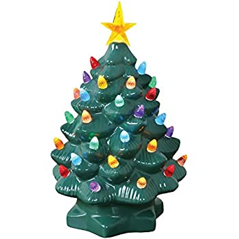 art artifact nostalgic ceramic christmas tree led lighted mini tree 10 tall