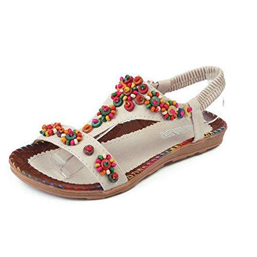 JRenok Beige Été Pantoufles Plat élastique Dames Sandales Cheville Sangle Sandale Sandale Thong enfilable Bohème zBrzO