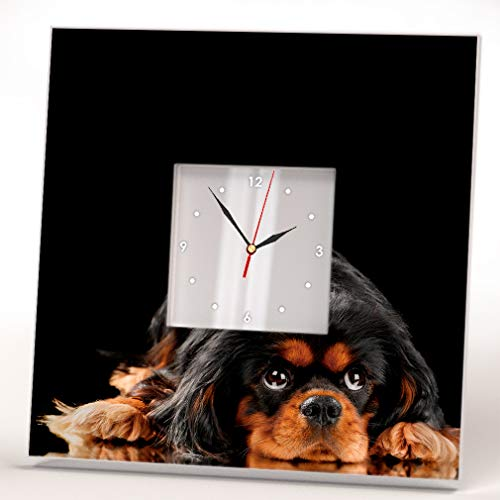 Wall Framed Cavaliers (Cute Cavalier King Charles Spaniel Wall Clock Framed Mirror Decor Pet Lovers Art Home Design Gift)