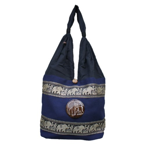 Thai Hippie Embroidered Dark Blue Bag Purse Elephant Marching Bag 100 Cotton Boho Travel Tribal rqr5Rdw