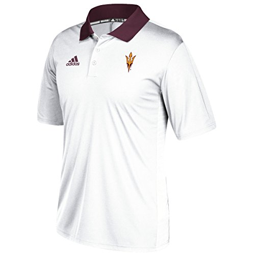 Arizona State Sun Devils Adidas NCAA 2017 Sideline Coaches Polo Shirt - White (Polo Sideline Adidas Shirt)