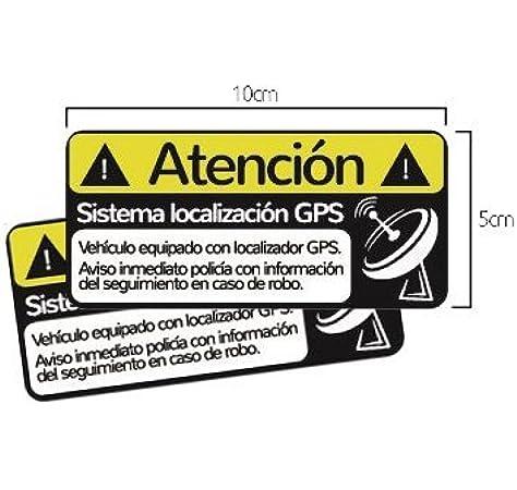Pack 2 Pegatinas disuasorias localizador GPS vehiculos, Coches Camiones Bicicletas adhieren sobre Superficie Exterior Adhesivos disuasorios localización satelite (Pack 2: Amazon.es: Electrónica