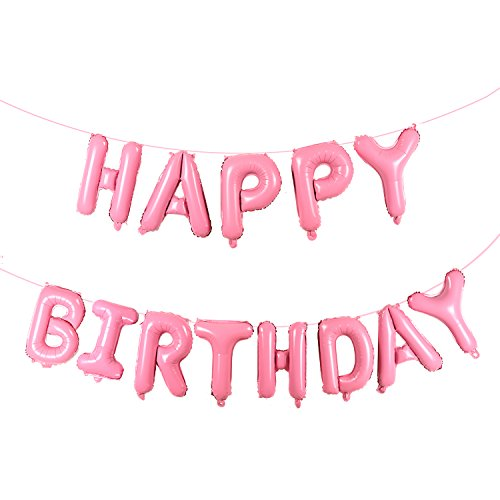 16 Inch Happy Birthday Mylar Balloon Pink Aluminum Foil Balloon Banner Party Supplies and -