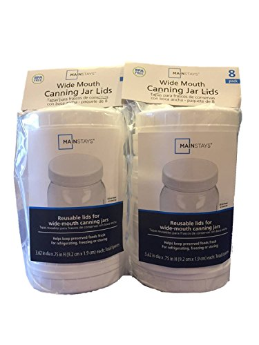 Wide-Mouth Reusable Plastic Lids for Canning Jars, 16 Count Bundle Set (3.62 dia x .75 H)