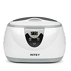 INTEY Ultrasonic Jewelry Cleaner Professional Eyeglasses Cleaner Machine with DEGAS FUNCTION for Necklace Sunglasses Watch Denture 20 Oz