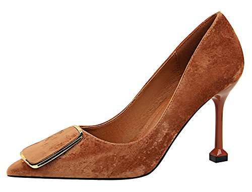 Aisun Womens Professional Low Cut Pointy Toe Dressy High Stiletto Heel Wear To Work Slip On Pumps Shoes Khaki 3mNWkndp