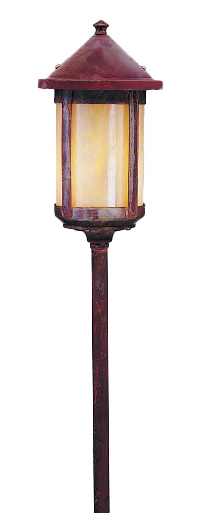 Arroyo Craftsman LV24-B6GW-RC Low Voltage Berkeley Stem Mount, 6'', Raw Copper Metal Finish, Gold White Iridescent Glass