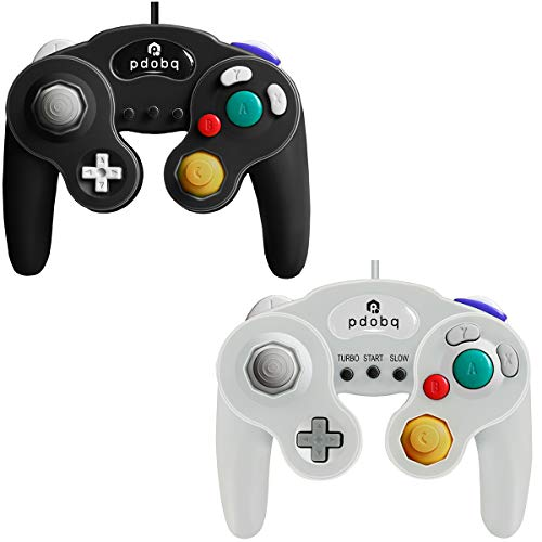 Gamecube Controller, Switch Gamecube Controller for WII/PC/WII U/Switch, 2 Pack Classic Wired Gamecube Gamepad. No Lag and No Driver Need with Turbo Feature(Black and White)