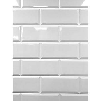 4x8 Soft White Wide Beveled Subway Ceramic Tile Backsplashes Walls Kitchen Shower Amazon Com
