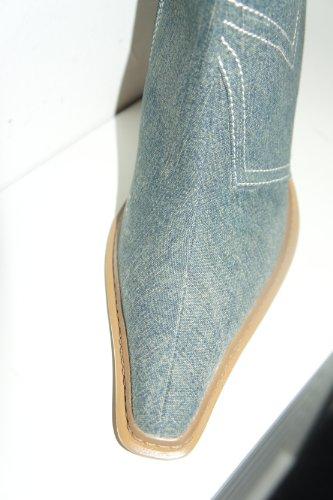 Haut Talon Pale Cheville Blue Denim Délavé Bottes Jeans Aiguille Dollhouse 1xO6BB