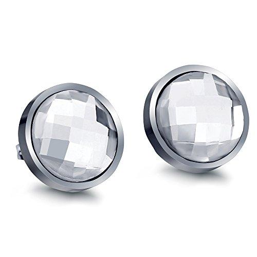 Zhongzhe Vintage 14mm Round Glass Earrings Punk Rock Stainless Steel Earrings For Women Men (G) ()