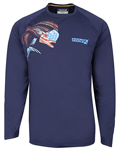 Hook & Tackle Men's America Dolphin Long Sleeve Sun Protection Fishing Shirt Navy X-Large