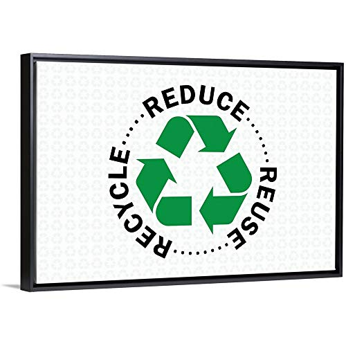Inner Circle Floating Frame Premium Canvas with Black Frame Wall Art Print Entitled Reduce Reuse Recycle - Circle 24