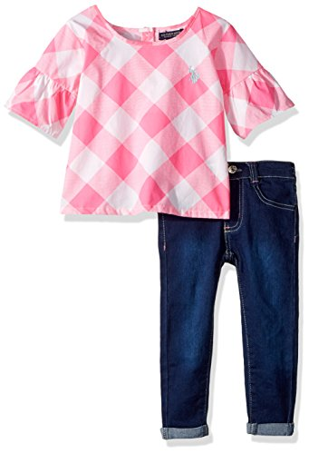 (U.S. Polo Assn. Girls' Little Fashion Set, Printed Buffalo Plaid Bell Sleeve Top Roll Cuff Pant Neon Pink, 6)