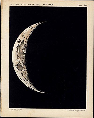 Lovely crescent Moon in Night sky telescope 1902 lovely color Celestial print