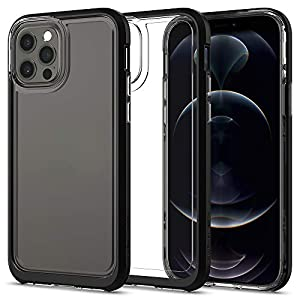 Spigen TPU and PC/Poly Carbonate Neo Hybrid Crystal Back Cover Case Compatible with iPhone 12 Pro and iPhone 12 – Black