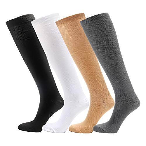 - 4 Pairs Knee High Graduated Compression Socks (15-20mmHg) for Men & Women