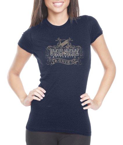 (NCAA Utah State Aggies Women's Prius2 Long Body Classic T-Shirt (Navy, Medium) )