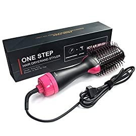 Hot Air Brush, One Step Hair Brush Dryer and Styler, 3 IN 1 Electric Negative Ion Hair Dryers, Curler and Straightener in One (Black Red) - 41ye85cK 2BJL - Hot Air Brush, One Step Hair Brush Dryer and Styler, 3 IN 1 Electric Negative Ion Hair Dryers, Curler and Straightener in One (Black Red)