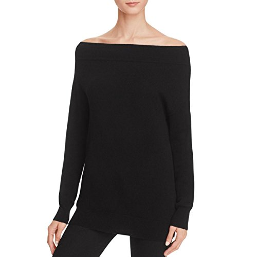 Magaschoni Womens Cashmere Boatneck Sweater Black (Boatneck Wool Sweater)