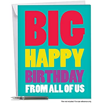 XL Happy Birthday Greeting Card 85 X 11 Big From Us With Envelope