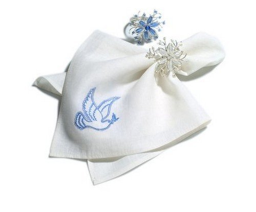 Arcadia Home N0100L Hand Embroidered Dove Napkins, Set of 4, Cream/Blue [並行輸入品] B077NZF8JJ