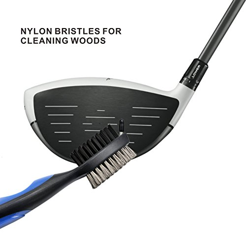 Udyr Golf Brush Club Groove Cleaner with 2 Ft Retractable Zip-line Aluminum Carabiner Set of 2, Black and Blue by Udyr (Image #2)