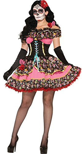 Clown Dead Costumes (UHC Women's Day of the Dead Theme Senorita Outfit Halloween Fancy Costume, M/L)