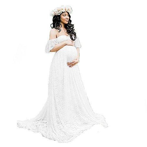 Women's Off Shoulder Ruffle Sleeve Lace Maternity Gown Maxi Photography Dress (White, Small)
