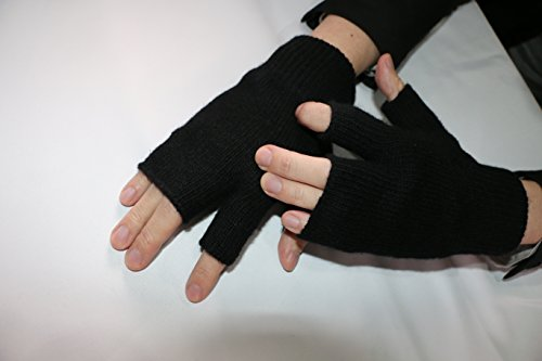 Warm 100% Wool Half Finger Winter Gloves for iPhones, Androids, iPads, Touchscreen One Size Fits All Black