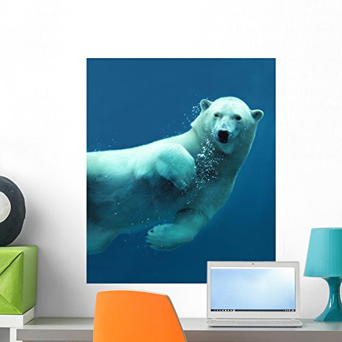 Wallmonkeys Polar Bear Underwater Wall Mural Peel and Stick Graphic (24 in H x 20 in W) (Arctic Ice Collection)