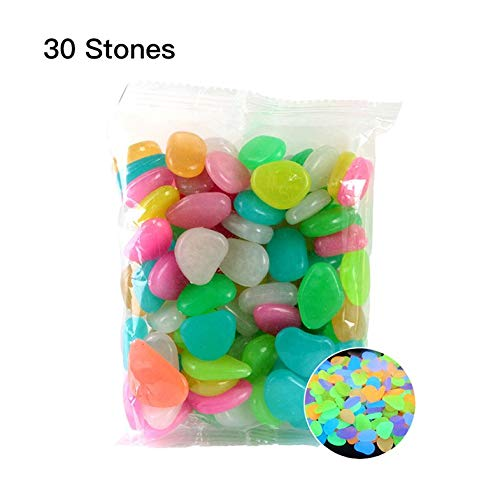 ouying1418 Garden Pebbles Glow Stones Rocks for Walkways Garden PathColor30pcs