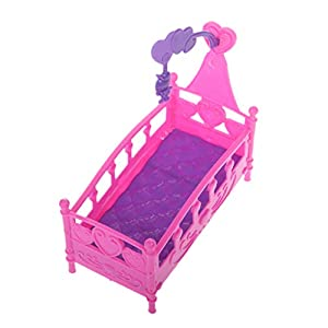 Fmingdou Rocking Cradle Bed Doll House Toy Furniture for Kelly Barbie Doll Accessories Girls Toy Gift