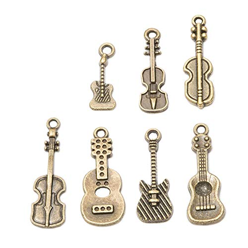 (70pcs Mixed Style Vintage Antique Bronze Alloy Musical Instruments Guitar Charms Pendant Jewelry Findings for Jewelry Making Necklace Bracelet DIY )