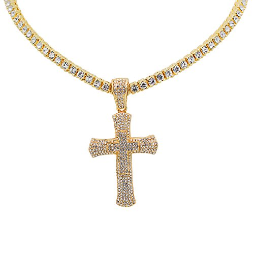 Yellow Gold-Tone Iced Out Hip Hop Bling Double Cross Pendant with 1 Row Stones Tennis Chain 16