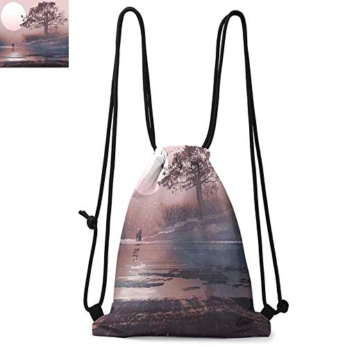 Fantasy Printed drawstring backpack Love Couple on the Horizon with Full Moon and Majestic Tree over the Lake Romance Print Suitable for school or travel W13.8 x L17.7 Inch Mauve