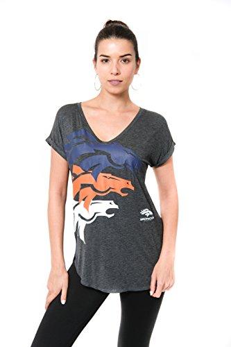 NFL Denver Broncos Women's T-Shirt V-Neck Soft Modal Tee Shirt, X-Large, Gray